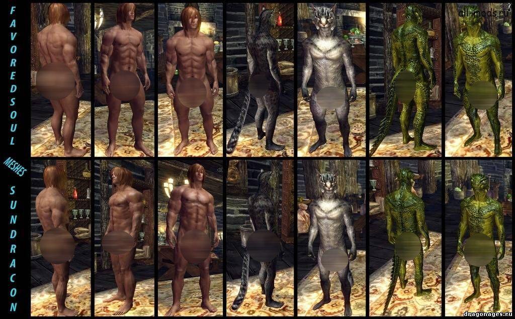 Новые тела, прически и лица мужских персонажей в Skyrim, превью